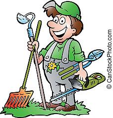 Gärtner mit Werkzeugen