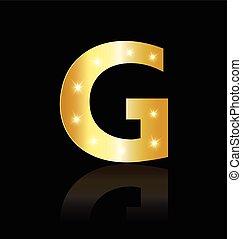 G Buchstaben mit leuchtenden Lichtzeichen.