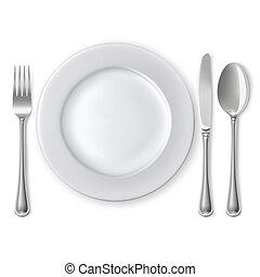 gabel, platte, messer, löffel