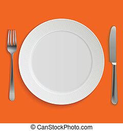 gabel, platte, realistisch, hauptmahlzeit messer, leerer