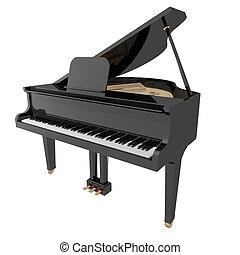 gand, klavier, freigestellt, hintergrund, weißes