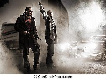 Gangster und ein schickes altes Auto