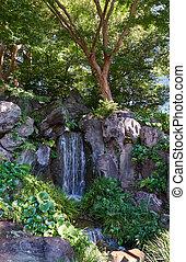 gardens., osten, japan, kaiserlich, tokyo., wasserfall, palast, kaskade