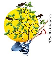 Gartengeräte. Schaufel, Rake und Baum. Vector.
