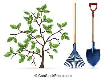 Gartengeräte. Schaufel, Rake und Frühling. Vector.