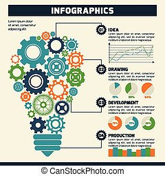 Gear lightbulb infographics.