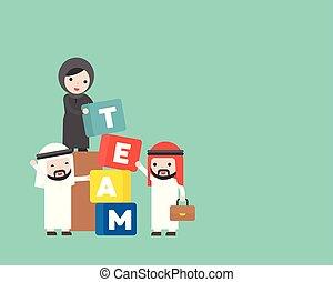 gebäude, begriff, geschäftsmenschen, araber, manager, mannschaft, block