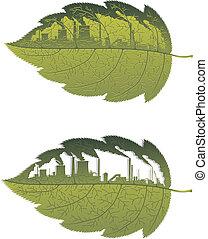 gebäude, grünes blatt, fabrik