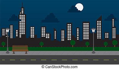 gebäude, nacht, park, straße