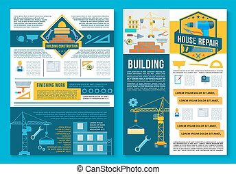 gebäude, reparatur, plakat, design, wohnungsbau