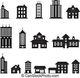 Gebäude schwarz und weiß, Set 3