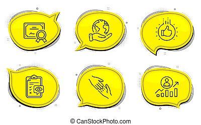 geben, optometrie, zeichen., daumen, karriere, set., auge, hand, mögen, vektor, portion, prüfliste, auf, gesture., leiter, heiligenbilder, hand