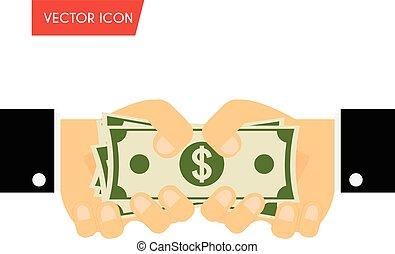 geben, spende, finanzierung, abbildung, hand, bargeld., zahltag, vektor, bargeld, geschäftsmann, concepts., annahme, bestechung