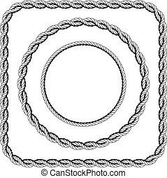 Gebogenes Seil mit abgerundeten Ecken.
