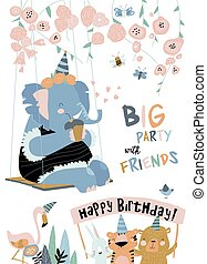 geburstag, elephant., feiertag, glücklich, karikatur, karte, lustiges