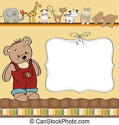 geburstag, grüßen karte, teddy
