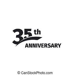 geburstag, jubiläum, icon., emblem., weißes, zahl, 35, abstrakt, thirty-five, vektor, freigestellt, jahre, thirty-fifth, logo, schwarz, jubiläum, illustration., hintergrund., logotype., 35th, feier