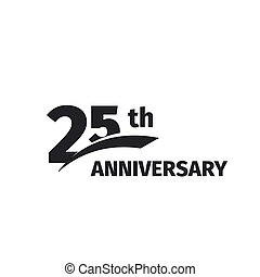 geburstag, jubiläum, icon., emblem., weißes, zahl, abstrakt, vektor, freigestellt, fünfundzwanzigst, fünfundzwanzig, 25., jahre, logo, schwarz, jubiläum, 25, illustration., hintergrund., logotype., feier
