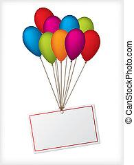 Geburtstagsballons mit redaktionierbarem weißem Label