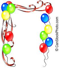 Geburtstagsballons und Schleifen