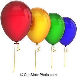 Geburtstagsballons vier Farben
