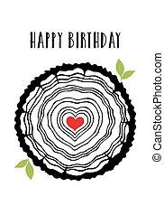 Geburtstagskarte mit Herzbaumringen.