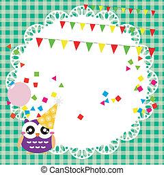 Geburtstagsparty-Karte mit süßer Eule