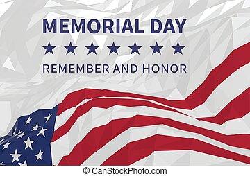 Gedenktag Hintergrund mit amerikanischer Flagge im Dreiecksstil.