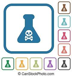 Gefährliches chemisches Experiment einfache Ikonen.