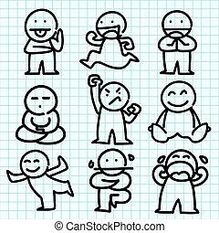 gefühl, schaubild, paper., blaues, karikatur