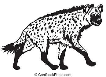 Gefleckte Hyäne schwarzweiß.