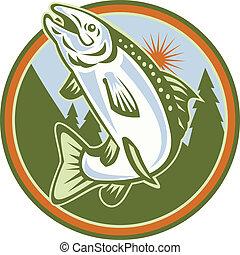 Gefleckter Fisch springt