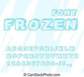Gefrorene Schriftart. Eis Alphabet. Transparentes ABC. Kalte, blaue Briefe