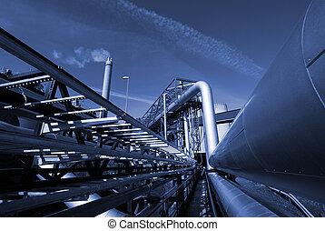 gegen, blauer himmel, industrie, ton, pipe-bridge, rohrleitungen