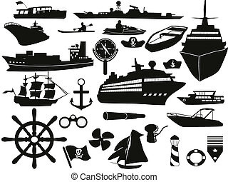 gegenstände, satz, segeln, ikone
