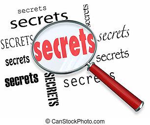 geheimnisse, -, suchen, vergrößerungsglas, anhaltspunkte, funde
