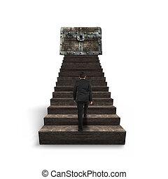 gehen, hölzerne spitze, schatztruhe, gegen, treppe, mann