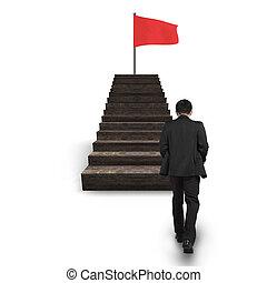 gehen, oberseite, fahne, wellig, gegen, treppe, rotes , mann