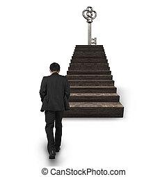 gehen, oberseite, schatz, schlüssel, gegen, treppe, mann