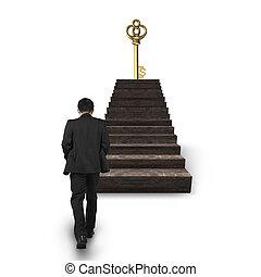gehen, schatz, dollar- zeichen- schlüssel, gegen, treppe, mann