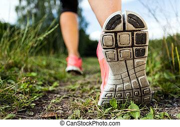 gehen, wald, trainieren, rennender , abenteuer, beine, oder
