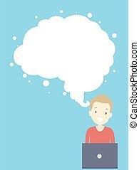 gehirn, denken guy, abbildung, wolke, jugendlich, design