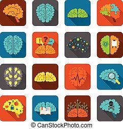 Gehirn-Icons sind bereit.