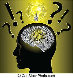 Gehirn-Idee und Problemlösung.