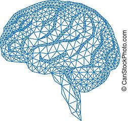 Gehirn mit geometrischem Muster, vecto