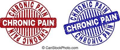 gekratzt, grunge, briefmarke, dichtungen, chronisch, schmerz, runder