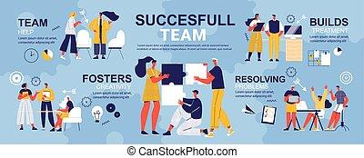 gekritzel, erfolgreich, infographics, mannschaft