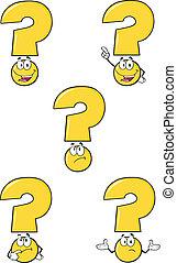 Gelbe Fragezeichen setzen Sammlung