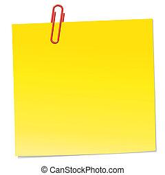 Gelbe Notiz mit rotem Büroklammer