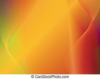 Gelber oranger, abstrakter Hintergrund mit Welle